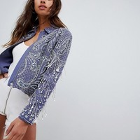 ASOS DESIGN Embellished Pearl Jacket With Fringing at asos.com