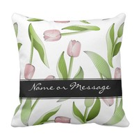 Pink Tulip Floral Patten Modern Chic Personalized Throw Pillow