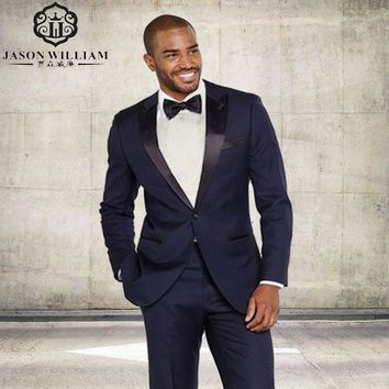 (Jacket+Pants+Tie+) Brand New Shawl Black Lapel Tuxedos Navy Blue Men