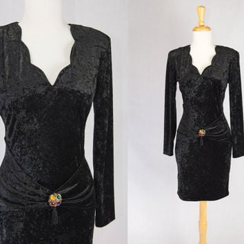 Vintage Black Crushed Velvet Bodycon Dress LBD Art Deco Brooch and Hip Swag All That Jazz Medium