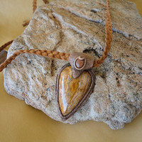 Petrified Wood Gold Stone Bohemian Style Necklace Boho Hippie Pendant Sam Art