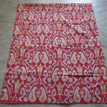 Red Queen Ikat Kantha Quilt Blanket - Cotton Quilted Bedspreads,Throws,Ralli,Gudari Handmade Tapestery REVERSIBLE Bedding