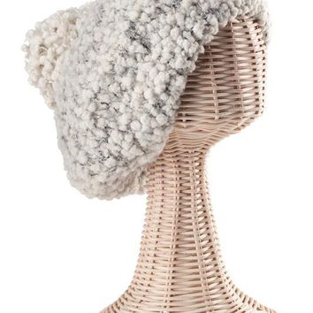 Womens Plush Textured Yarn Beret With Gold Sequins Woven Into The Yarn-Ivory-One Size