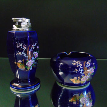 Cobalt Blue Table Lighter & Ashtray Set Bijutsu Toki Ceramics Kutani Style with Enameled Peafowl