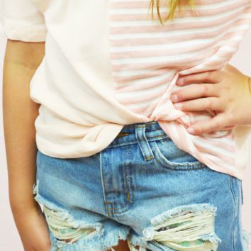 seaside sequin cutoffs - denim/teal/gold