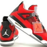 Mens Nike Air Jordan Retro 4 TORO BRAVO Basketball Shoes Fire Red/White/Black/Cement Grey 308497-603 Size 12