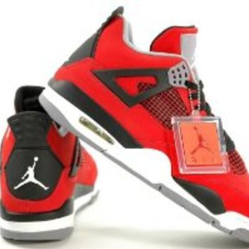 Mens Nike Air Jordan Retro 4 TORO BRAVO Basketball Shoes Fire Red/White/Black