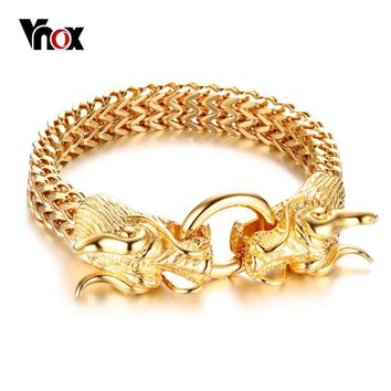 Vnox Stylish Chinese Dragon Head Closure Chunky Double Curb Chain Bracelet for Men Gold Color Stainless Steel Male Punk Jewelry
