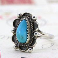 Vintage Turquoise Ring | Sterling Silver Ring | Dainty Gemstone Ring | Stacking Ring | Native American Ring | Southwestern Ring | Size 8