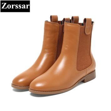{Zorssar} NEW arrival fashion Casual Flat heel Women Chelsea Boots Round toe flats ankle boots autumn winter female shoes Brown