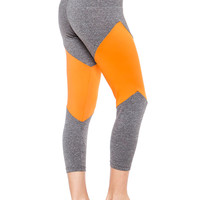 Two Tone High Waisted Cropped Yoga Leggings