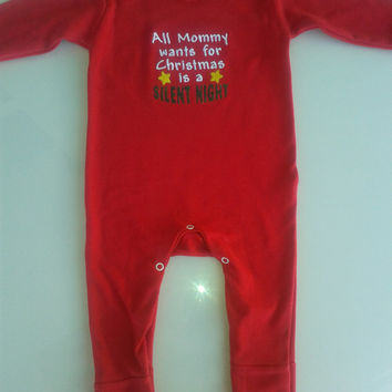Baby Christmas embroidered  romper,All mom wants for Christmas saying, soft cotton baby bodysuit