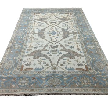 6x9 Handmade Beige 100% Wool Rug Blue Gray Turkish Ushak 2941