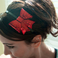 Red Bow Headband - 3Dimensional Sequin Bow on a Black Headband
