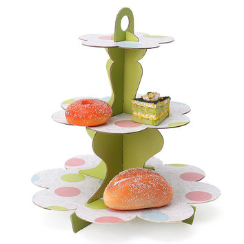 Paper 3 Tiers DIY Cupcake Stand Dessert Candy Storage Holder Wedding Party Cake Display Catering.