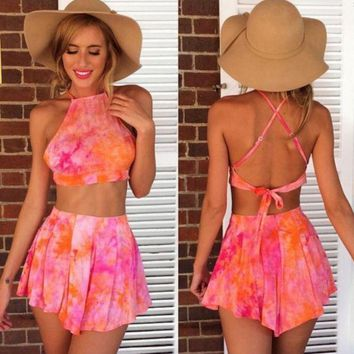 DCCKFC8 Backless Tie Dye Two-Piece Suit
