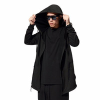 Men Black Cloak Hoodies Long Sleeve Streetwear Hooded Sweatshirts Loose Pullover Outwear For Male