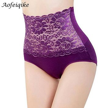 Women's Lace Floral Body Shaper Hip Abdomen Tummy Control Panties High Waist Sexy Lace Flower Intimates Briefs Underwear
