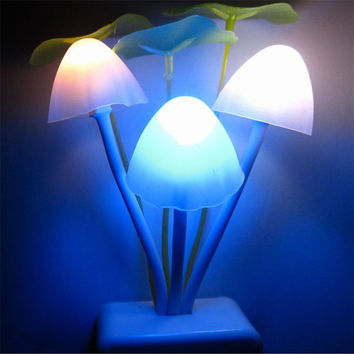 Romantic Colorful Sensor LED Mushroom Night Light Wall Lamp Home Decor quality first 10IT