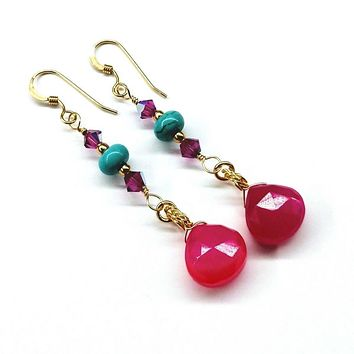 Gold Filled Wire Wrapped Pink And Turquoise Gemstone Earrings