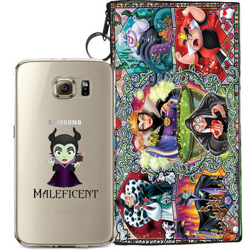 Disney's Villains (Maleficent) Jelly Clear Case For Samsung Galaxy S7 EDGE + Pouch
