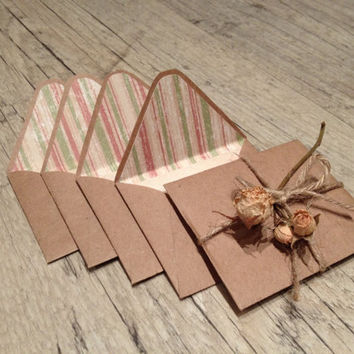 Set of 5 crafted small envelopes with cards for your note - letter writing paper - beige brown rustic - europeanstreetteam