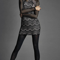 Mixed Lace And Fishnet Sheath Dress from EXPRESS