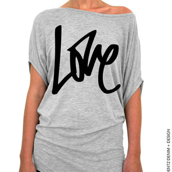Graffiti Love Slouchy Tee - Valentine's Day - Gray Longer Length Slouchy Tee (Small - Plus Sizes)