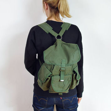 70s Canvas Chinese Army Backpack / Khaki Military Small Rucksack / Made in China / The Good China Pack