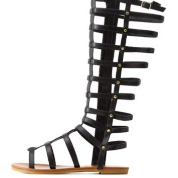Black Flat Knee-High Gladiator Sandals by Charlotte Russe