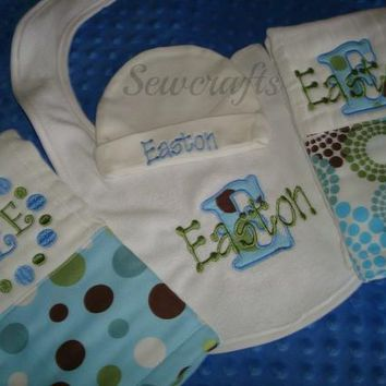 Easton Personalized Gift -2 Burps a Bib and a Beanie Hat - Name and/or up to 3 Monograms