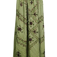 Womens Vintage Fashion Embroidered Rayon A-line Gypsy Peasant Skirt S/M