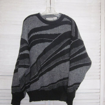 Vintage 80s Hipster Sweater Mens Knit Crewneck Pullover Sweater Grey and Black Acrylic Wool L Large Geometric