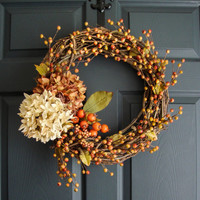 Fall Hydrangea Berry Wreath - Autumn Rustic Door Wreath - Berry Wreath - Primitive - Fall Porch Decor - Thanksgiving - Fall Wreaths Etsy