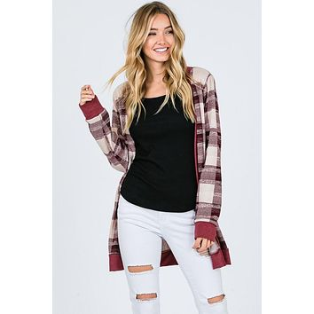 Plaid Cardigan - Burgundy