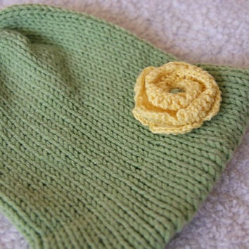 green hat with yellow flower, toddler green hat, girls hat