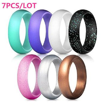 Silicone Wedding Engagement Ring Men Women Rubber Band Outdoor Sport Flexible LY