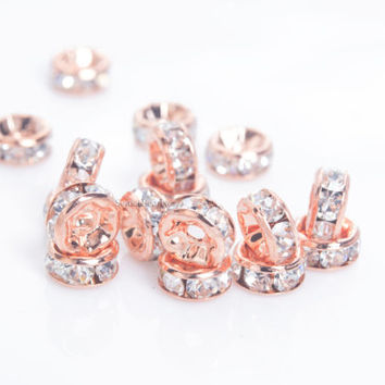 clear rhinestone brass spacer beads - clear crystals rondelle spacer beads - rose gold plated metal beads - 4-12mm spacer beads -100pcs