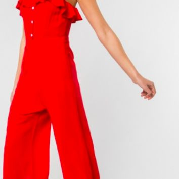 Sleeveless Jumpsuit, Red