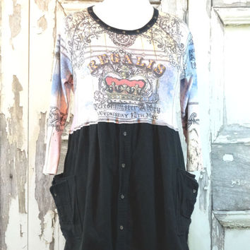 Upcycled Clothing Eco Tunic Dress Romantic Clothing Medium XLarge Tshirt Tunic Dress