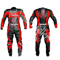 MEN Black RED Motorcycle RACING Leather Suit Jacket Hump Pants For Kawasaki