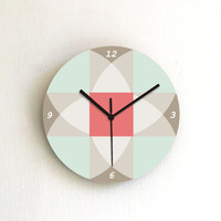 clock aqua beige soft pastel geometric decor salmon turquoise wall clock wall art wall hanging home decor kitchen clock living room clock