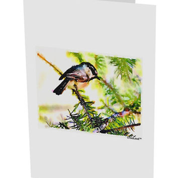 "CO Chickadee Watercolor 10 Pack of 5x7"" Side Fold Blank Greeting Cards"