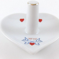 Vintage Ring Holder Porcelain Collectible Ring Holder Heart Shaped with Hearts Doves and the word Love