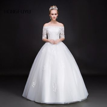 Noble Elegant Boat Neck Tulle Half Sleeves Wedding Dresses Back Lace UP Appliques Ball Gown Wedding Gowns