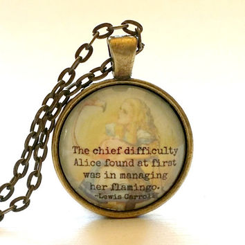 Alice in Wonderland | Glass Necklace | Pendant | Key Ring | Lewis Carroll Quote | Flamingo | Gift Idea | Party Favor