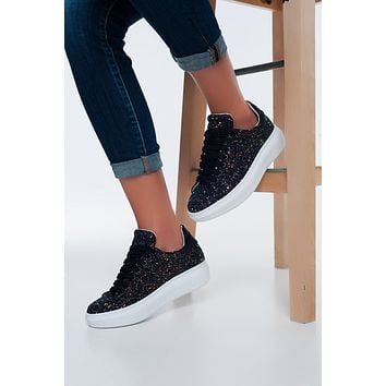 Chunky Lace Up Sneakers In Black Glitter