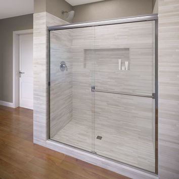 Basco Classic 60 in. x 70 in. Semi-Frameless Sliding Shower Door in Silver with Clear Glass-A0053-60CLSV - The Home Depot