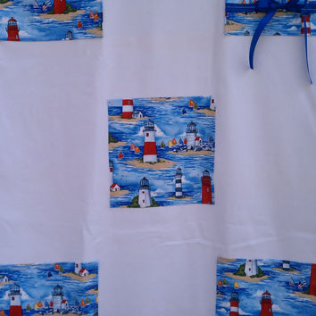 Lighthouse Shower Curtain White by HandtowelsByOlivia on Etsy
