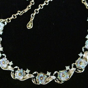 Coro Necklace Rhinestone Choker Art Glass AB Aurora Borealis 1950s 50s Wedding Bride Bridal Christmas  Crystal Flower Floral Gold Plated